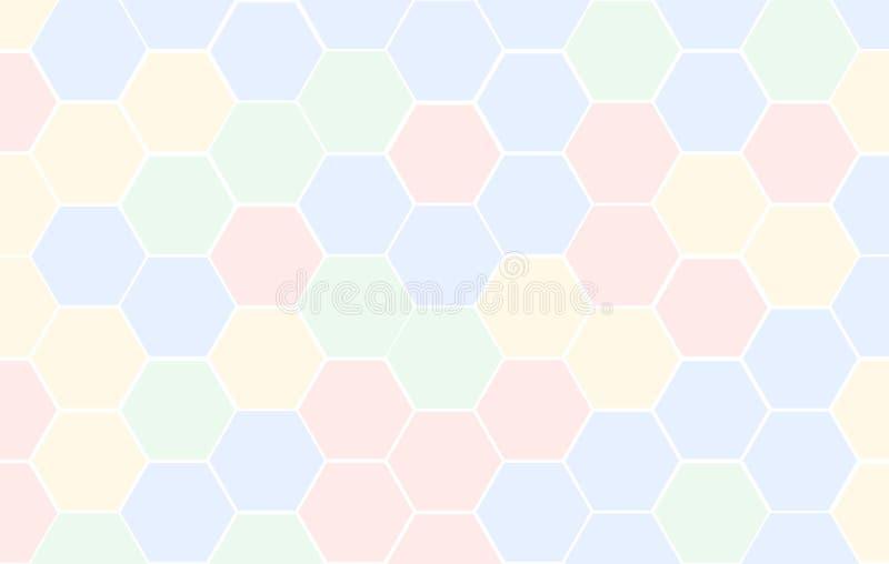 De tegel willekeurige achtergrond van het honingraatnet van veelkleurige of kleurrijke rode blauwgroene en gele of Hexagonale cel vector illustratie
