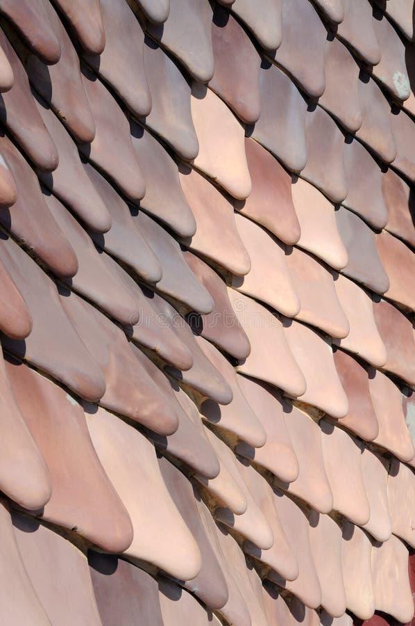 De tegels van het dak van Casa Batllo, Barcelona royalty-vrije stock afbeelding
