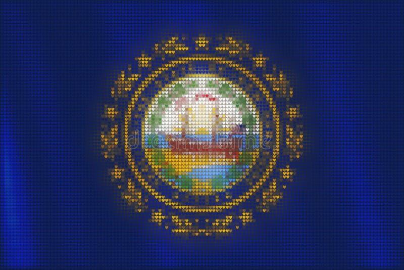 De tegels van het mozaïekhart het schilderen van New Hampshire-vlag stock illustratie