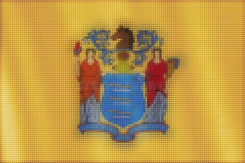 De tegels van het mozaïekhart het schilderen van de vlag van New Jersey royalty-vrije illustratie