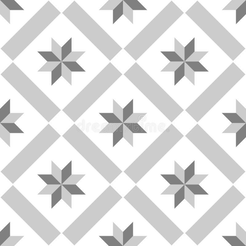 De tegels vectorpatroon van de tegel grijs, zwart-wit decoratief vloer royalty-vrije illustratie