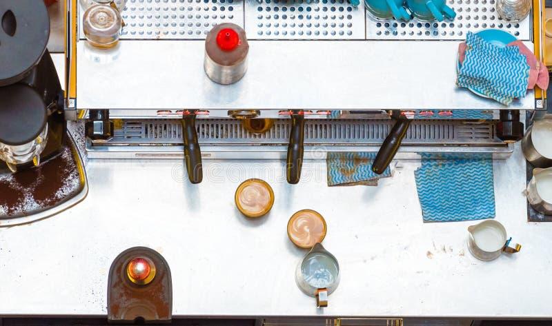 De tegen, hoogste luchtmening van de koffievoorbereiding stock fotografie