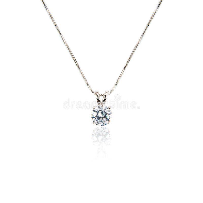 De tegenhanger van de diamant op wit stock fotografie