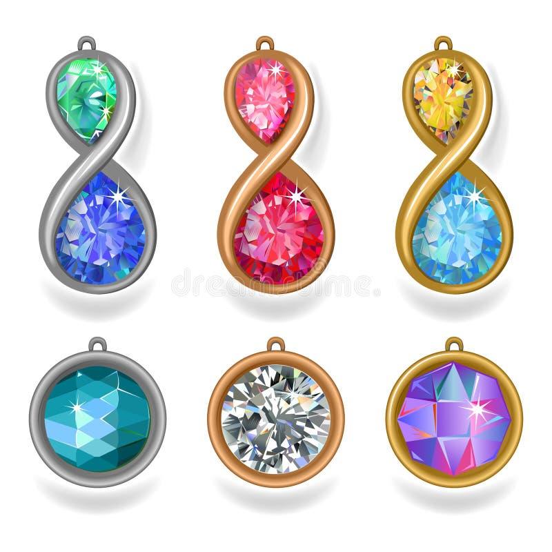 De tegenhangers en lavalieres het verstand van het juwelenedele metaal vector illustratie