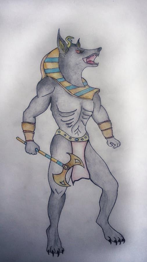De tekening van de Anubishand stock foto's