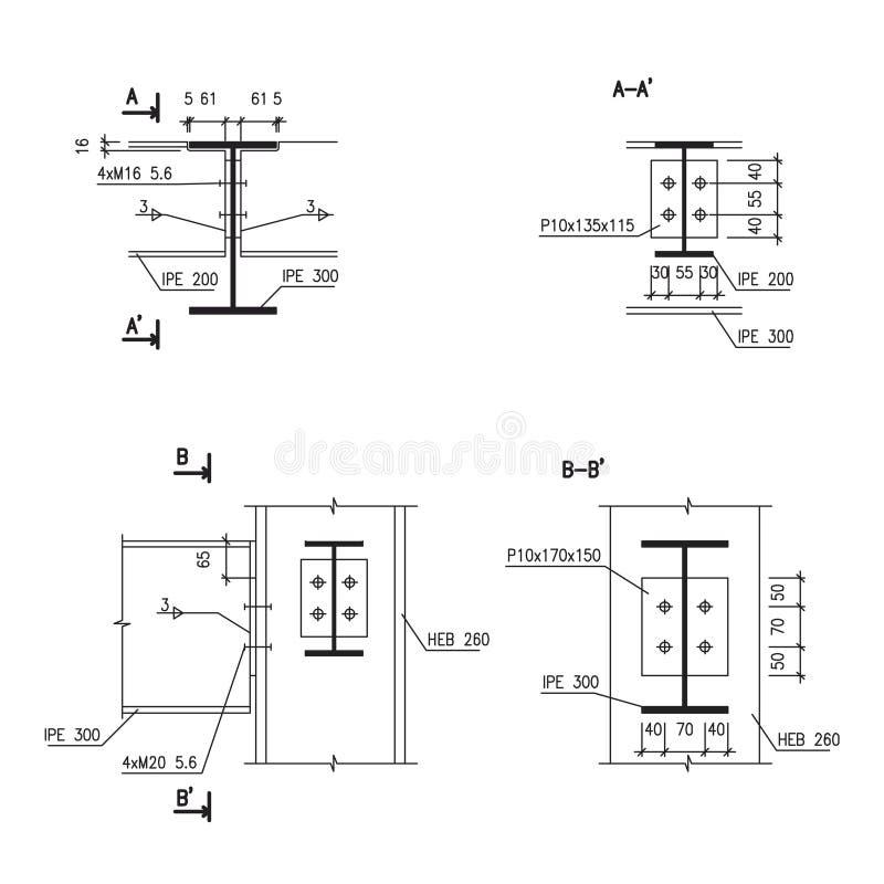 De tekening van de bouw, de aansluting van de staalbalk royalty-vrije illustratie