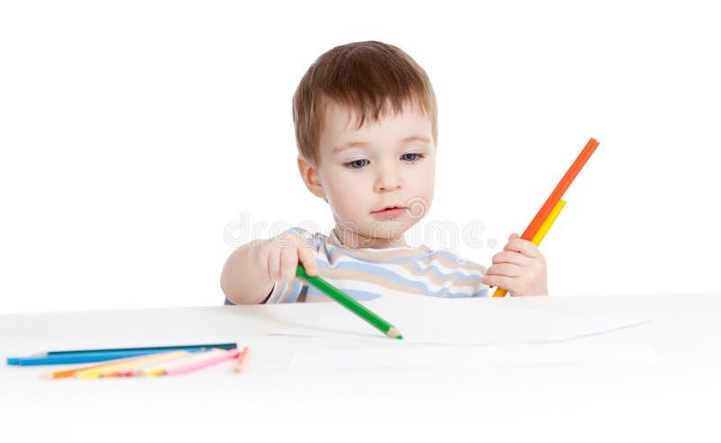 De tekening van de de babyjongen van Handsom met kleurenpotloden royalty-vrije stock afbeelding