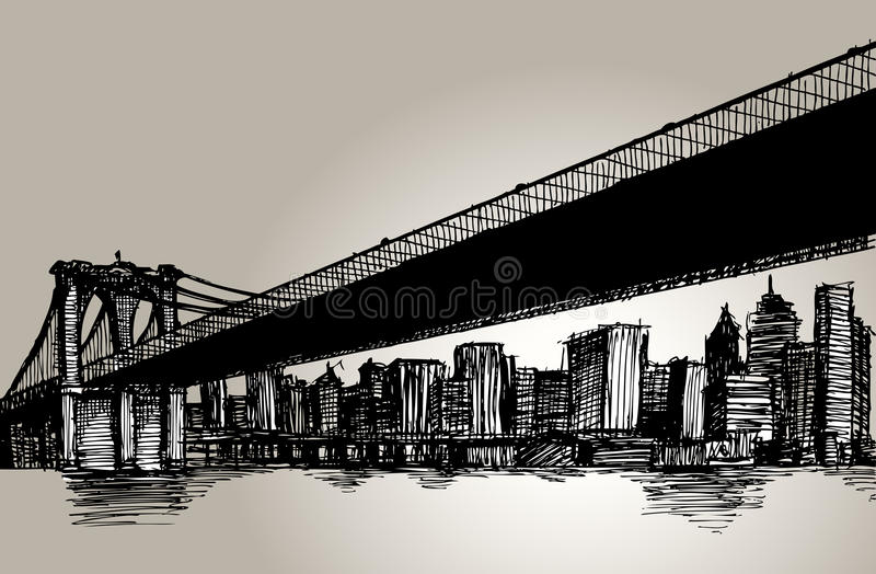 De Tekening van de de Brughand van New York Brooklyn stock illustratie