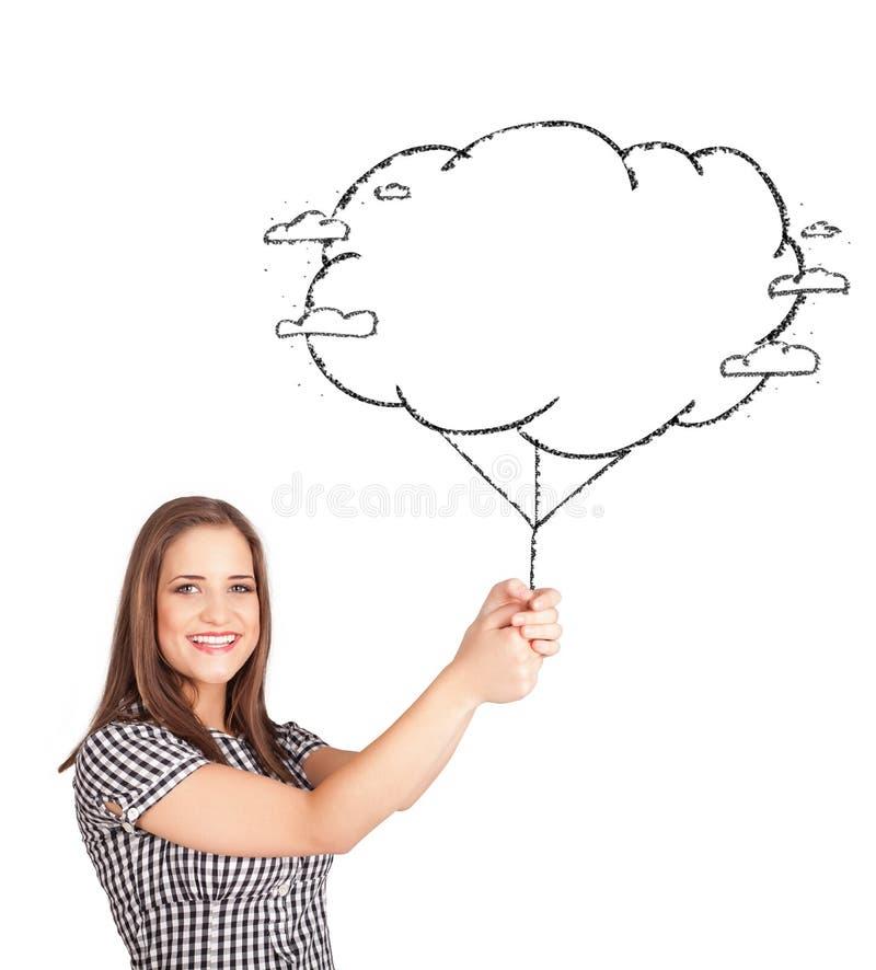 de tekening van de de wolkenballon van de dameholding stock fotografie