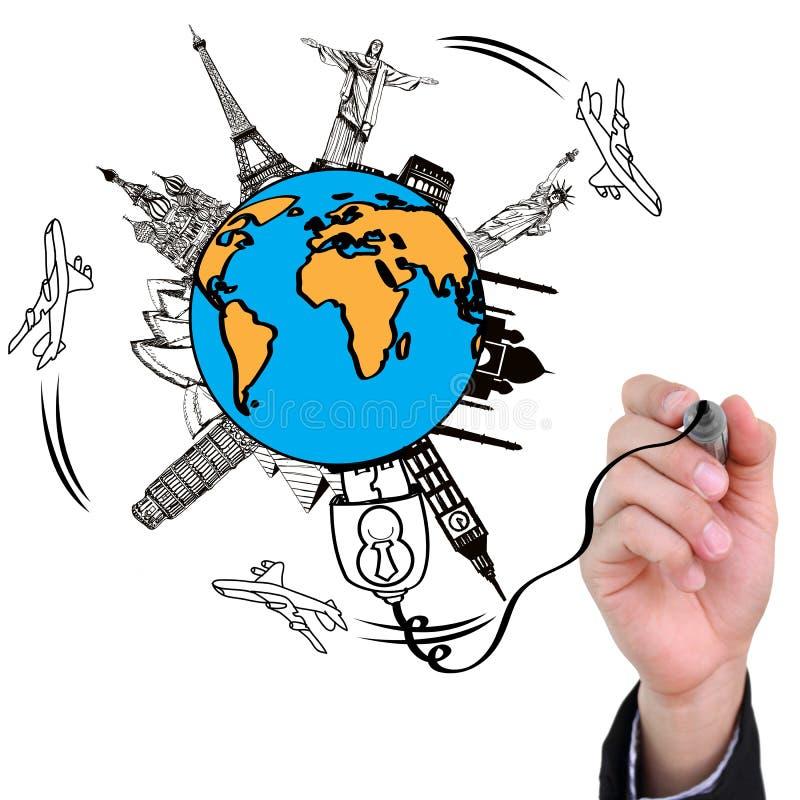 De tekening van de hand reist het concept van het wereldmonument royalty-vrije illustratie