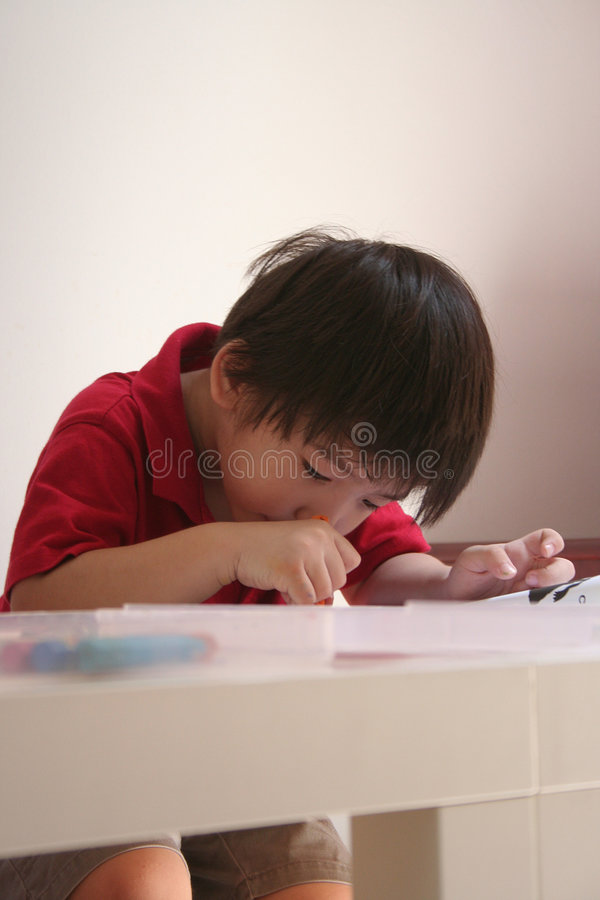 De tekening van de jongen stock foto