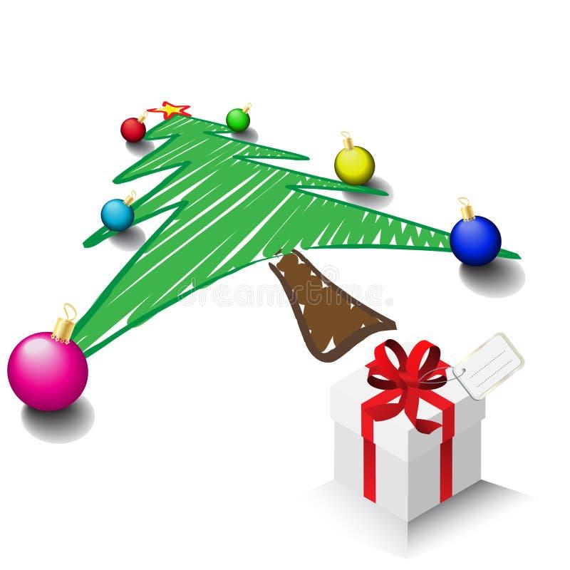 De tekening van de kerstboom stock illustratie