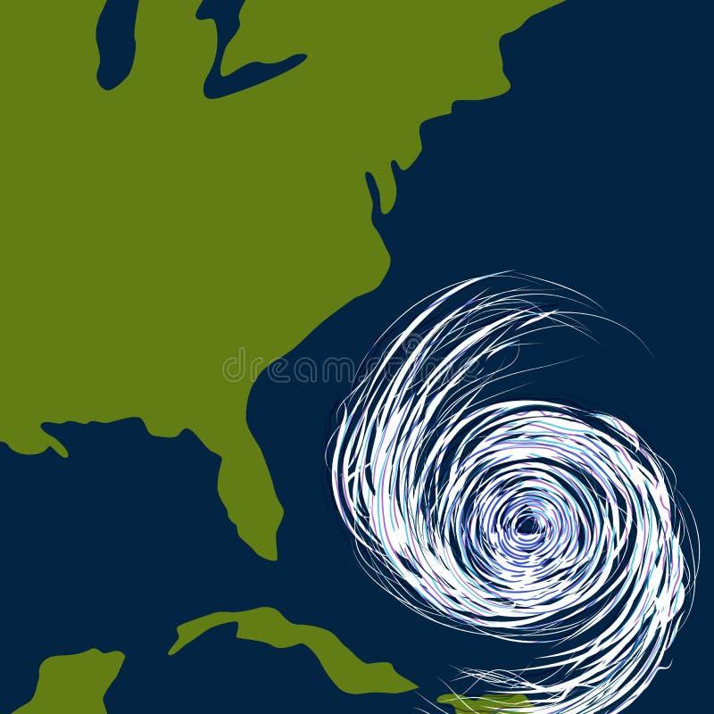 De Tekening van de Orkaan van de Kust van het oosten stock illustratie
