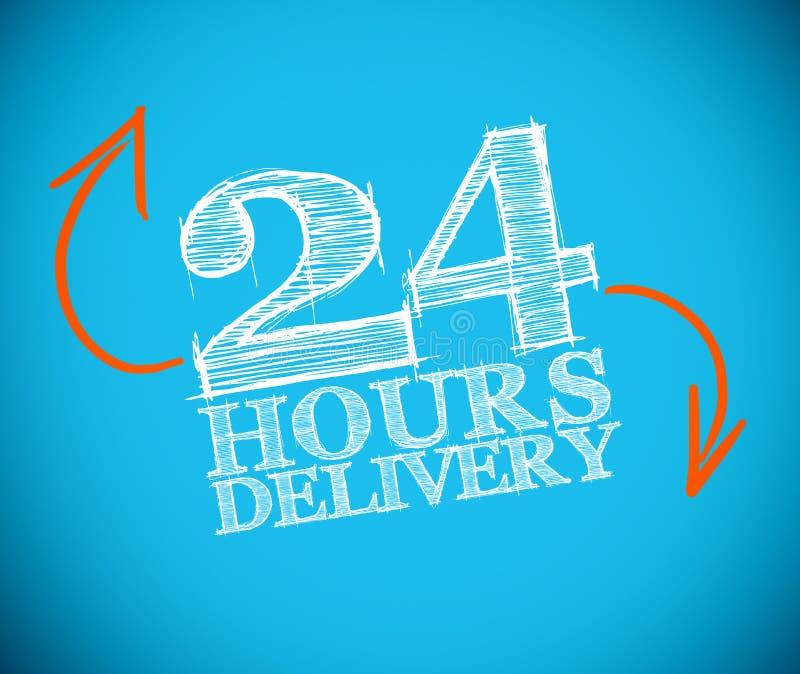 de tekening van de 24 urenlevering met oranje pijlen stock illustratie