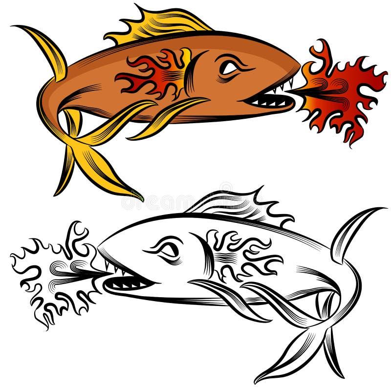 De Tekening van de Vissen van de brand royalty-vrije illustratie