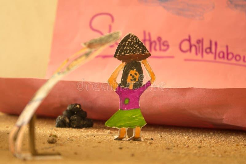 De Tekening van de eindekinderarbeid stock afbeeldingen