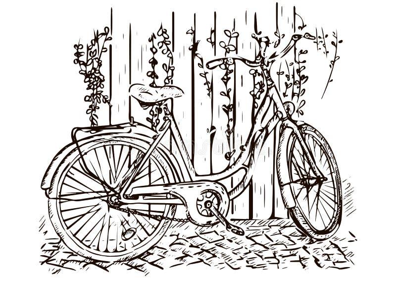 De tekening van de fietshand, schets, kleuring, zwart-wit zwart-wit beeld, vectorillustratie royalty-vrije illustratie
