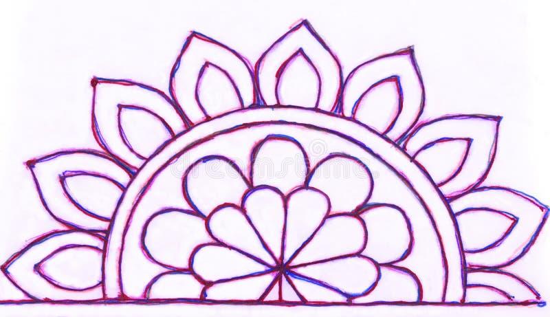 De tekening van de gelpen van een gevormde semi cirkel stock illustratie