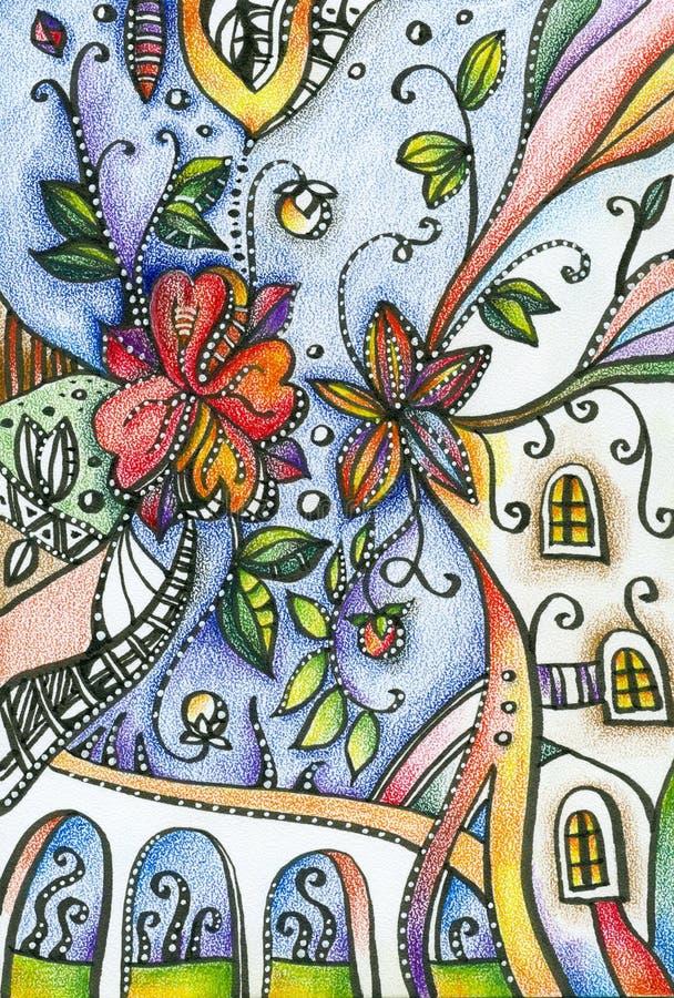 De tekening van het fantasiepotlood van bloemen in stad royalty-vrije illustratie
