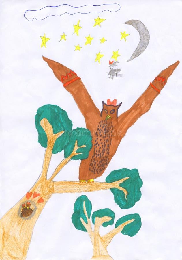 De tekening van het jong geitjekleurpotlood van een uil in de nacht stock illustratie