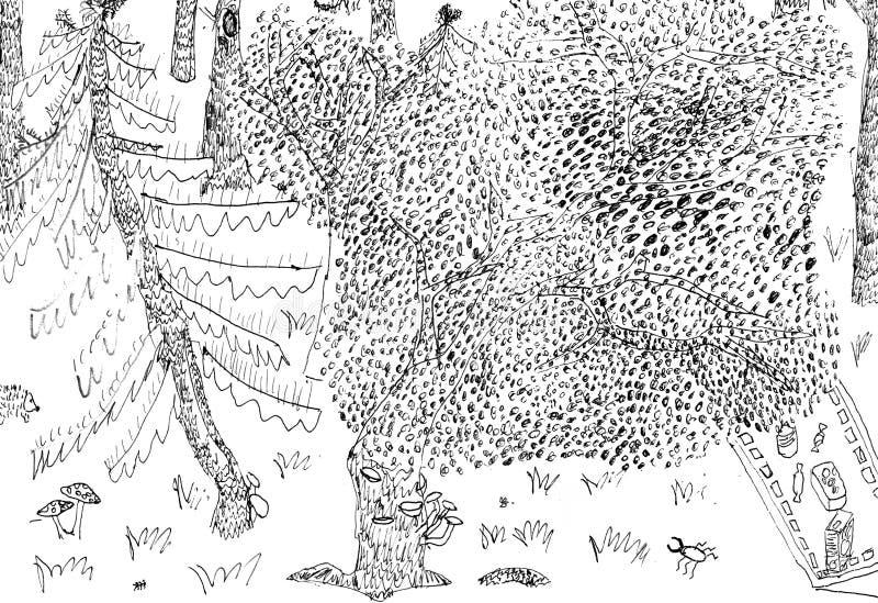 De tekening van het jonge geitjespotlood stock illustratie