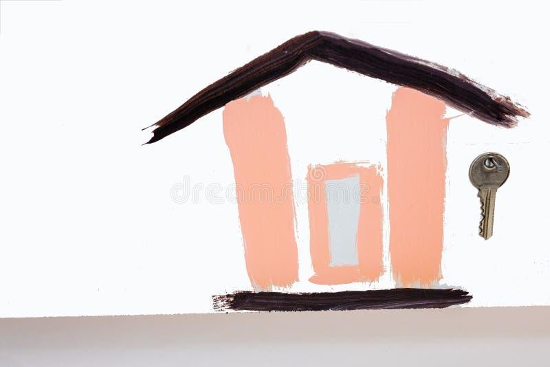 De tekening van het kind door borstel, thuis stock afbeelding