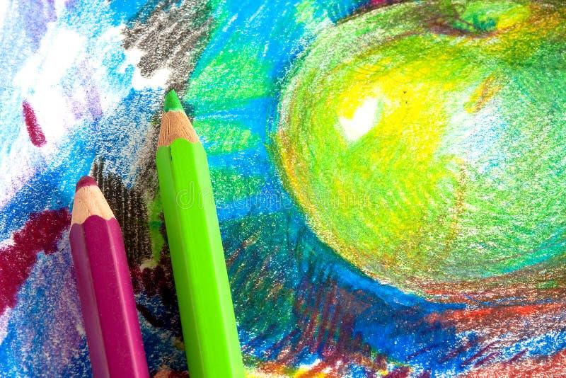 De tekening van het kind door kleurpotloden royalty-vrije stock afbeelding