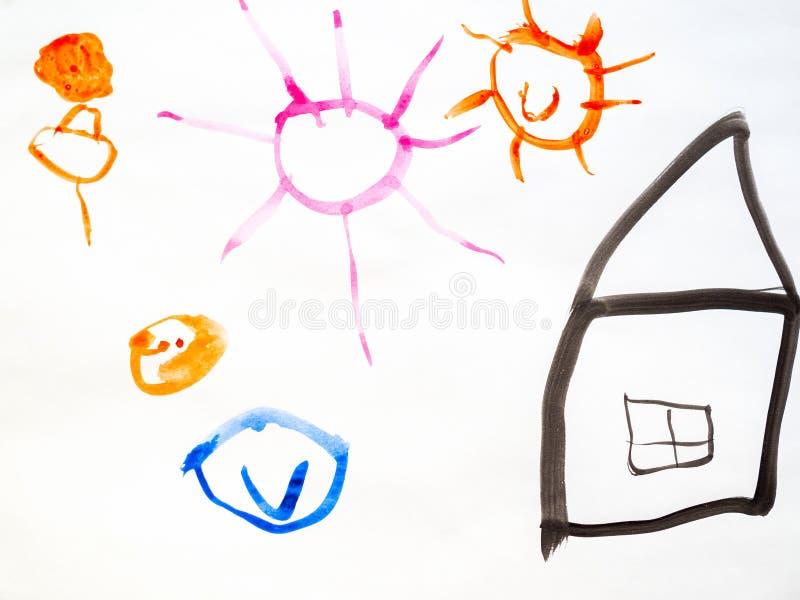 De tekening van het kind van een huis en de zon royalty-vrije illustratie