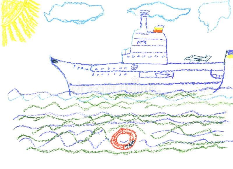 De tekening van het kind met groot slagschip vector illustratie