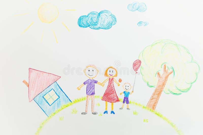 De tekening van het kind van de papa en de zoon van het mamma op de achtergrond van een hous royalty-vrije stock fotografie