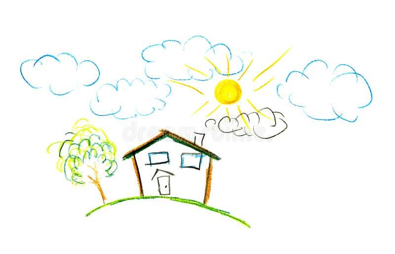 De tekening van het kind van hun huis royalty-vrije illustratie