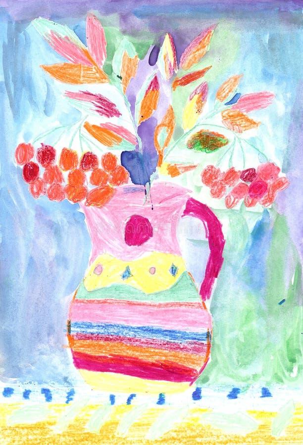 De tekening van het kind van kleurrijke bloemen vector illustratie