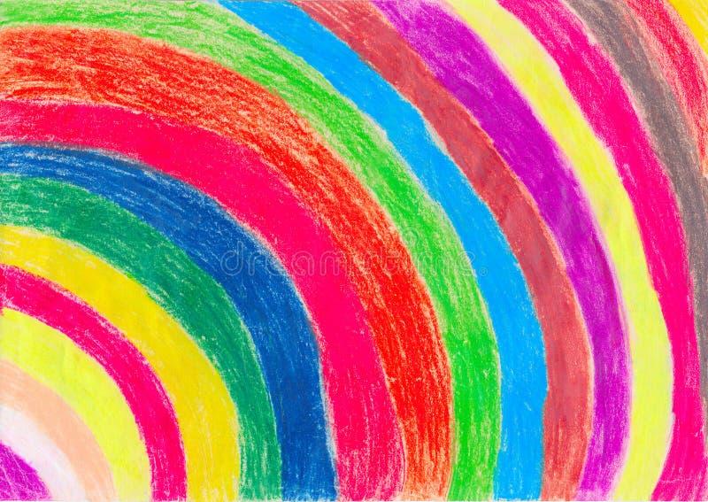 De Tekening van het kleurpotlood door een Kind stock illustratie
