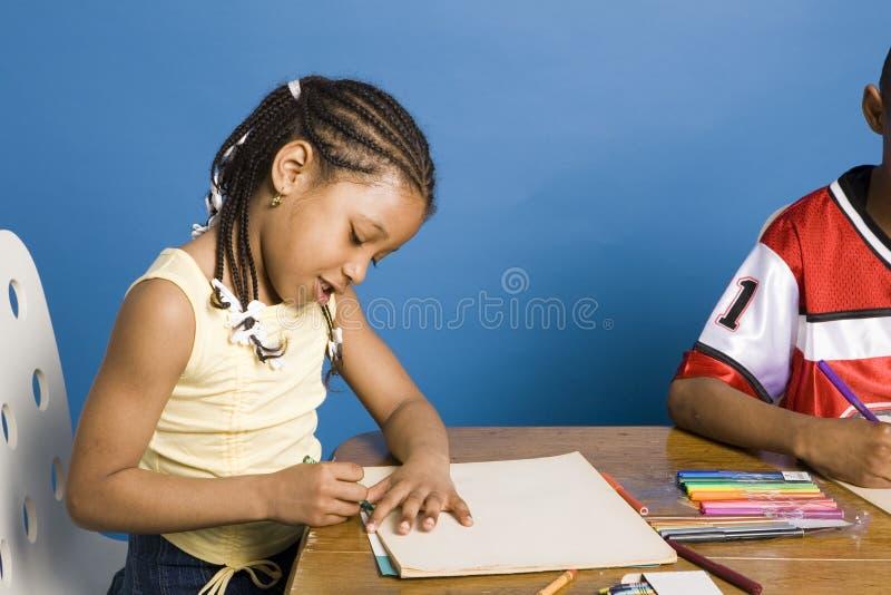 De tekening van het meisje stock afbeeldingen