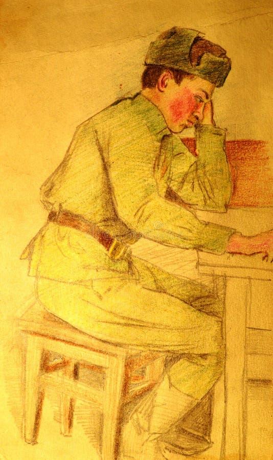 De tekening van het militairleger royalty-vrije stock foto