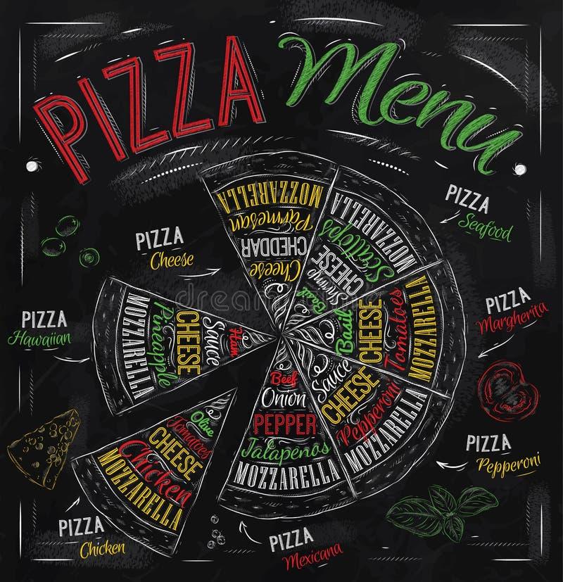De tekening van het pizzamenu met kleurenkrijt. vector illustratie