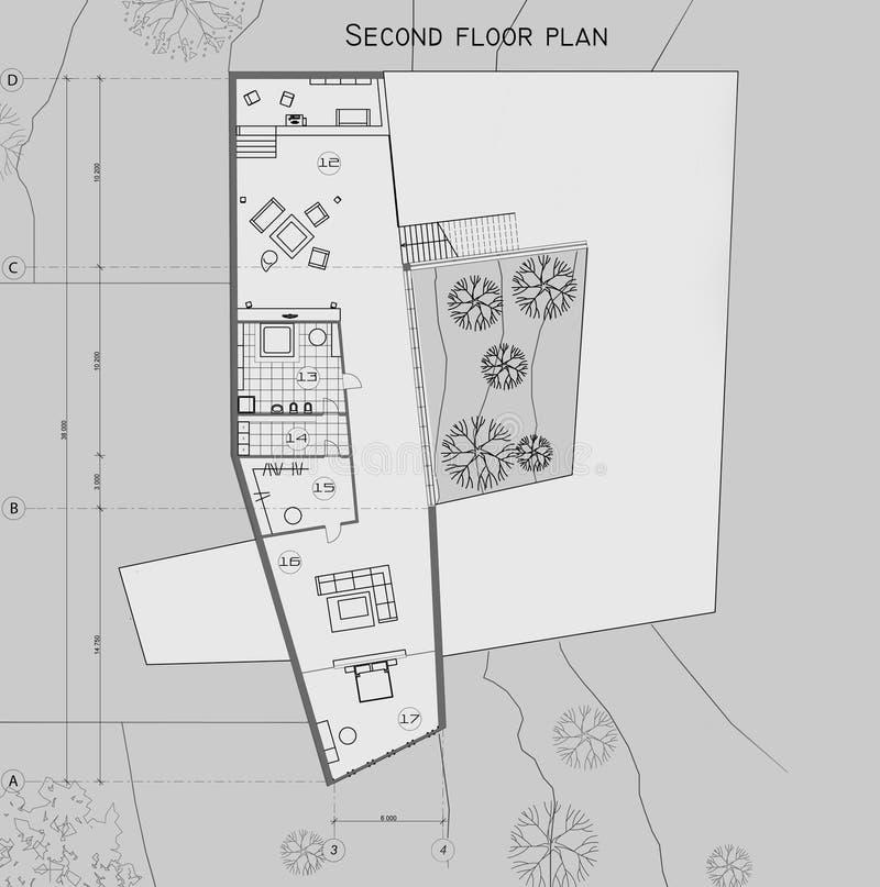 De tekening van het plan van het tweede niveau van het privé huis vector illustratie