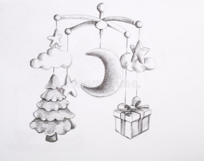 De tekening van het potlood Het stuk speelgoed van de baby stock afbeeldingen