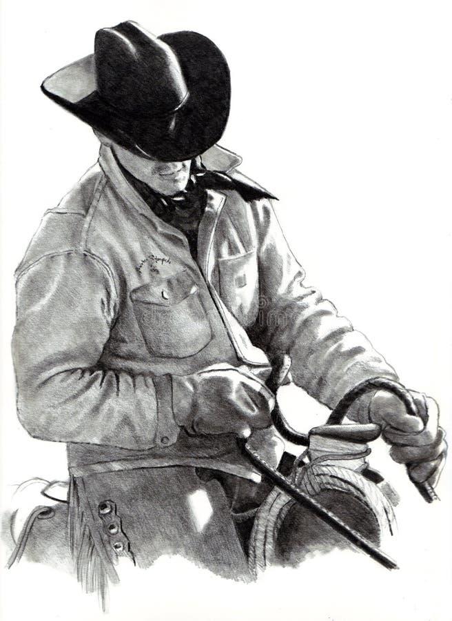 De Tekening van het potlood van Cowboy op Paard royalty-vrije illustratie