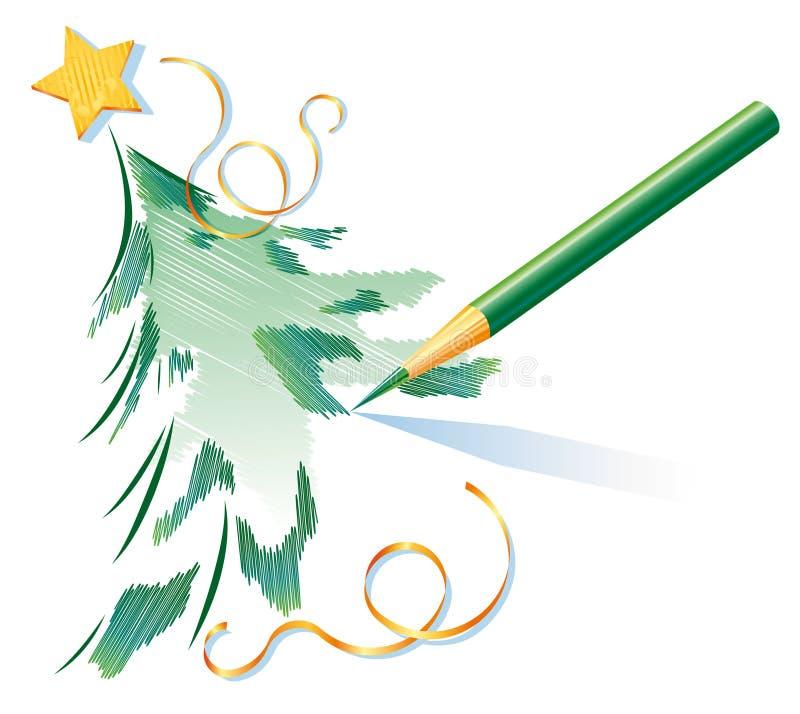 De tekening van het potlood van een Kerstboom stock illustratie