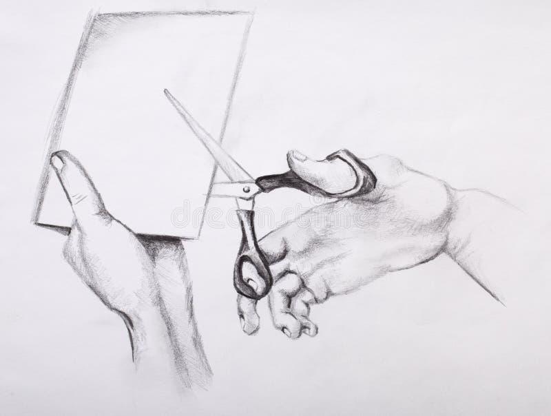 De tekening van het potlood wapens royalty-vrije stock afbeeldingen