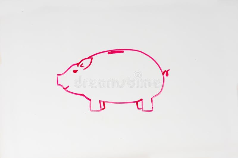 De tekening van het spaarvarken stock foto's