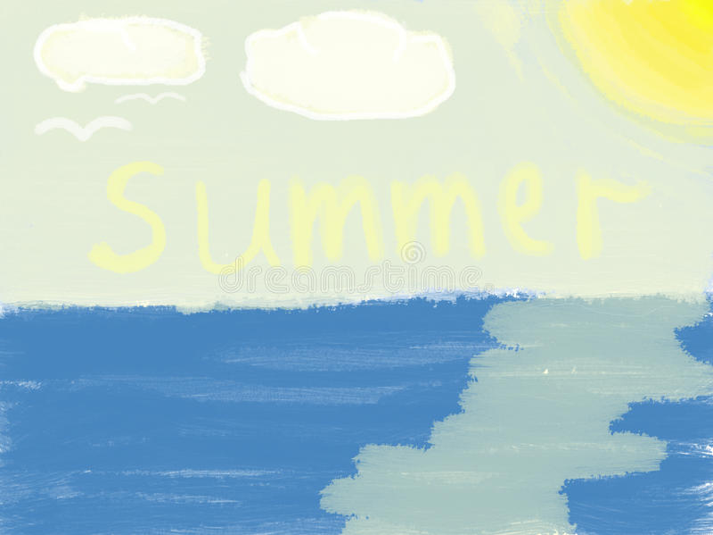 De tekening van kinderen De zomer stock foto