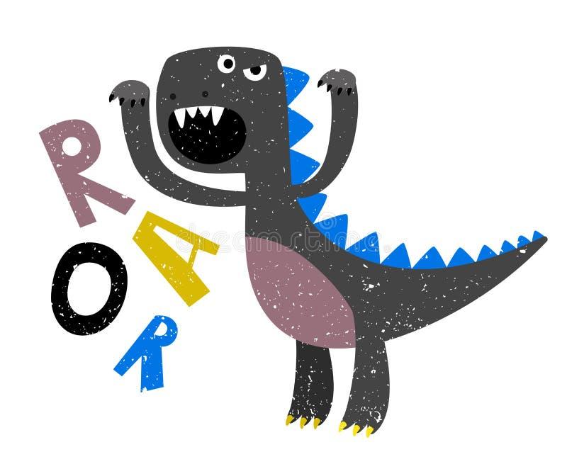 De tekening van kinderen van enge grommende dinosaurus vlak royalty-vrije illustratie