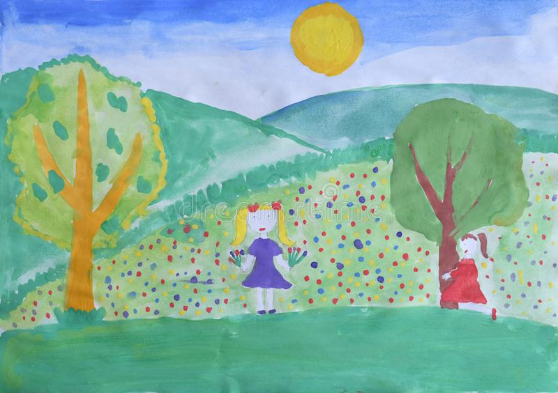 De tekening van kinderen: de lentelandschap Het meisje met het boeket verzamelt bloemen op het tot bloei gekomen gazon stock fotografie