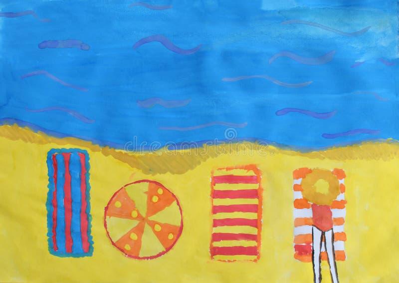 De tekening van kinderen: rust op de strandboulevard Het meisje op strandbed en zonparaplu Het strandzand, idee van roepingsreis  stock afbeeldingen
