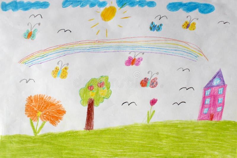 De tekening van kinderen van huis, bloemen en regenboog stock illustratie