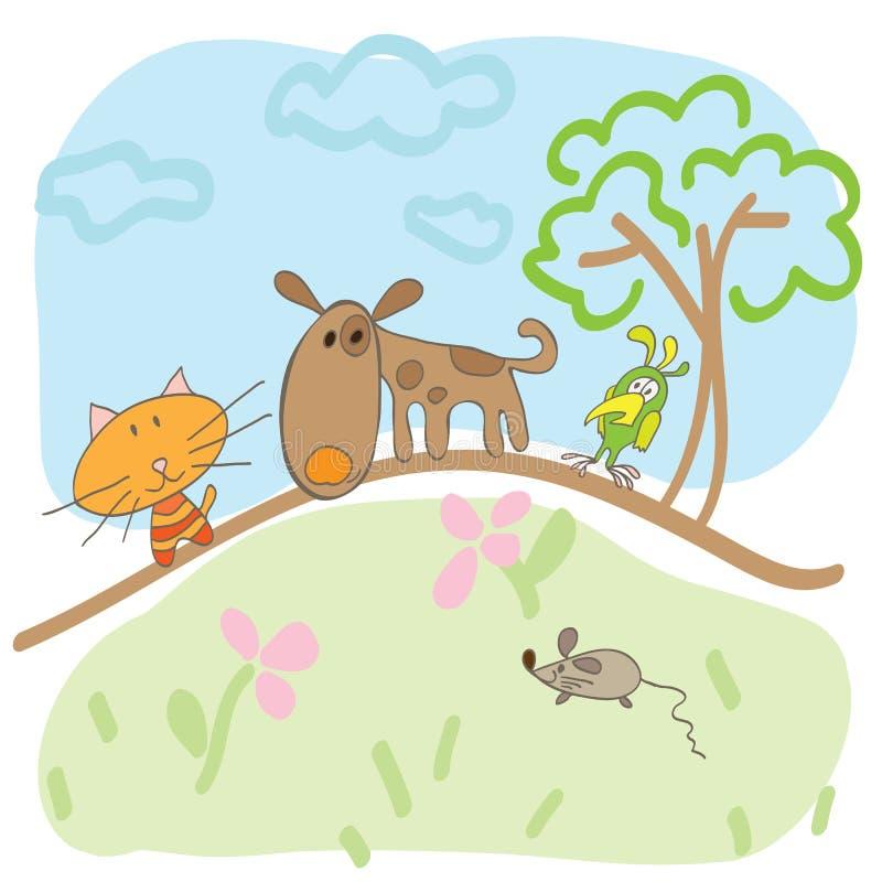 De tekening van kinderen van van de hondenkatten en muis de zomer stock illustratie