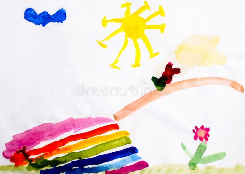 De tekening van kinderen in waterverf, de brug over de rivier, de zon en een bloem Landschap in het beeld stock foto's
