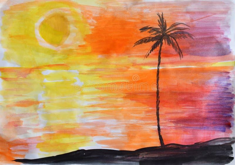De tekening van kinderen: zonsondergang op het eiland in het overzees of de oceaan en palm royalty-vrije stock afbeelding